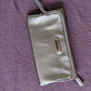 Tahari silver wristlet purse